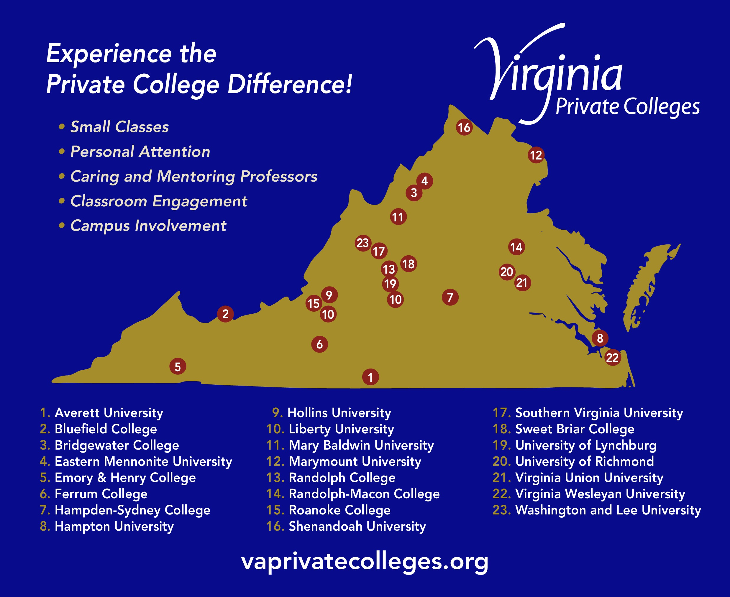 Colleges In Virginia Map Council of Independent Colleges in Virginia